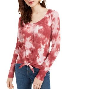 Ultra Flirt Juniors Tie-Dye Thermal Top